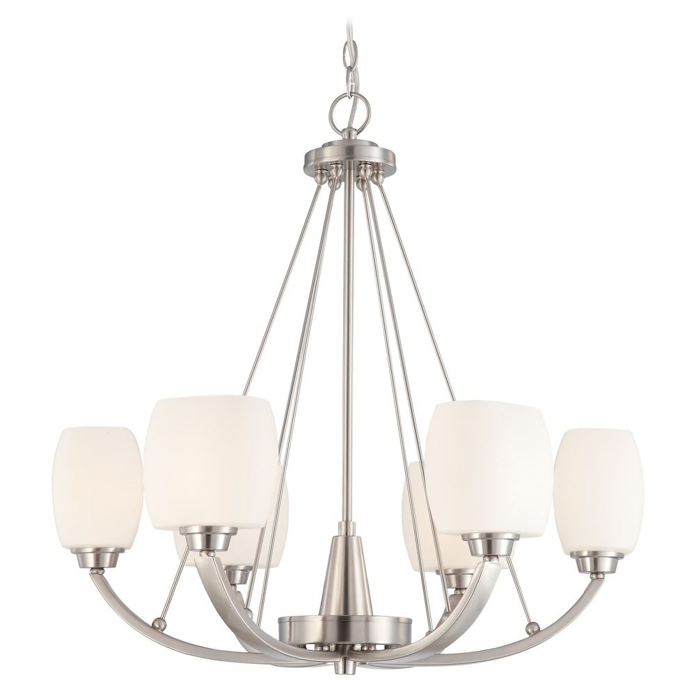 Modern Chandelier With White Glass In Brushed Nickel