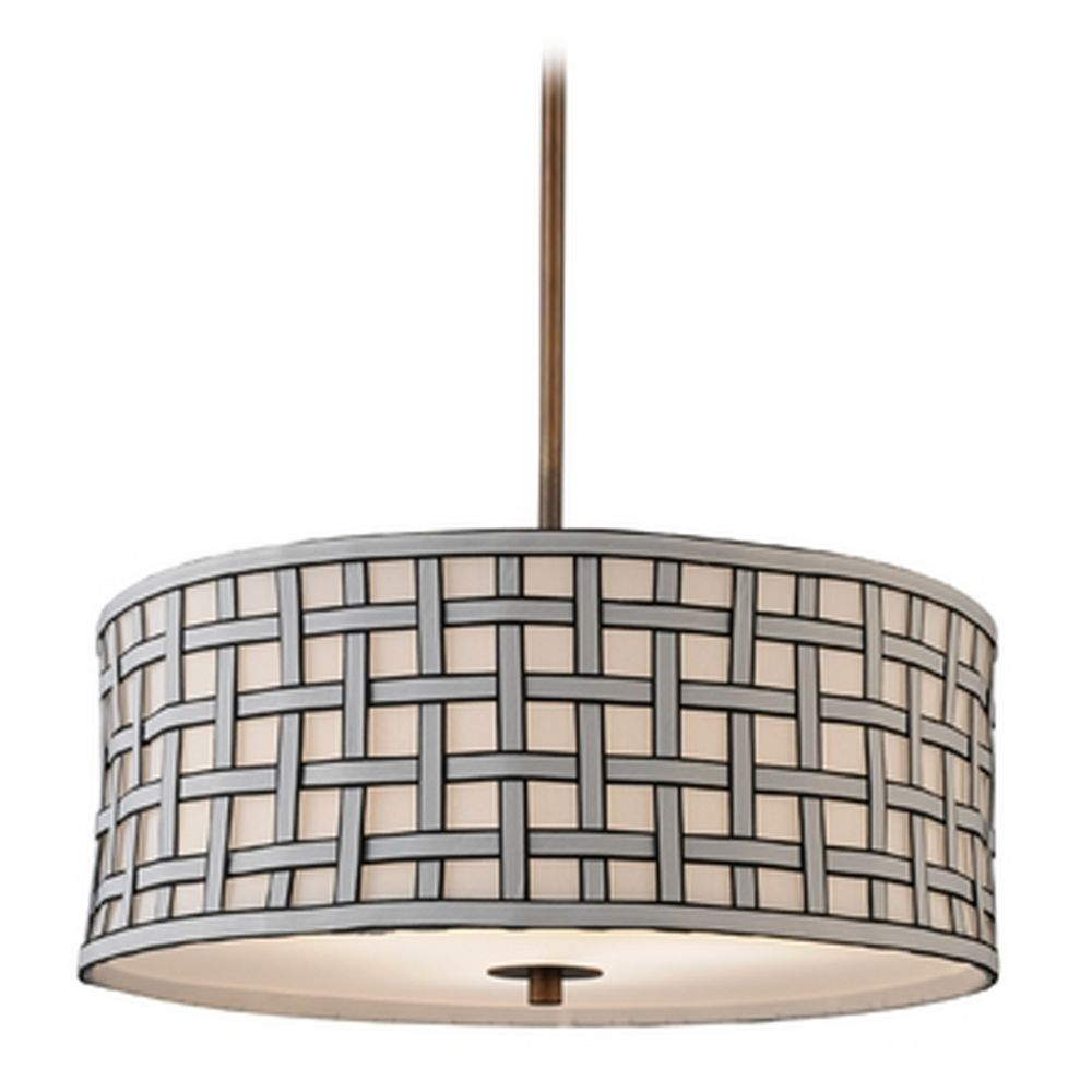Contemporary Drum Shade Pendant Light In Bronze Finish DCL 6528 604 SH7489