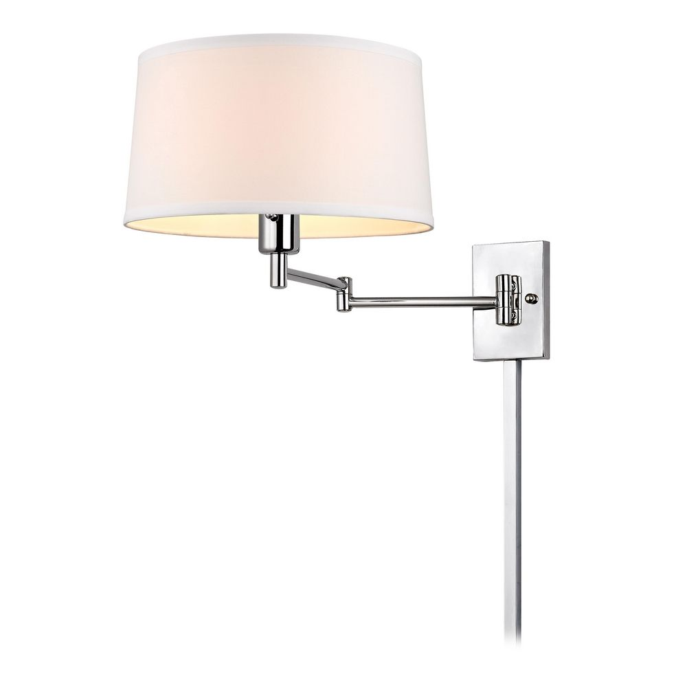 chrome swing arm wall lamp with drum shade and cord cover 2293 26. Black Bedroom Furniture Sets. Home Design Ideas