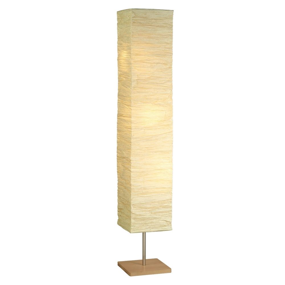 Modern Floor Lamp With Beige Cream Paper Shades In Natural Finish At Destination Lighting