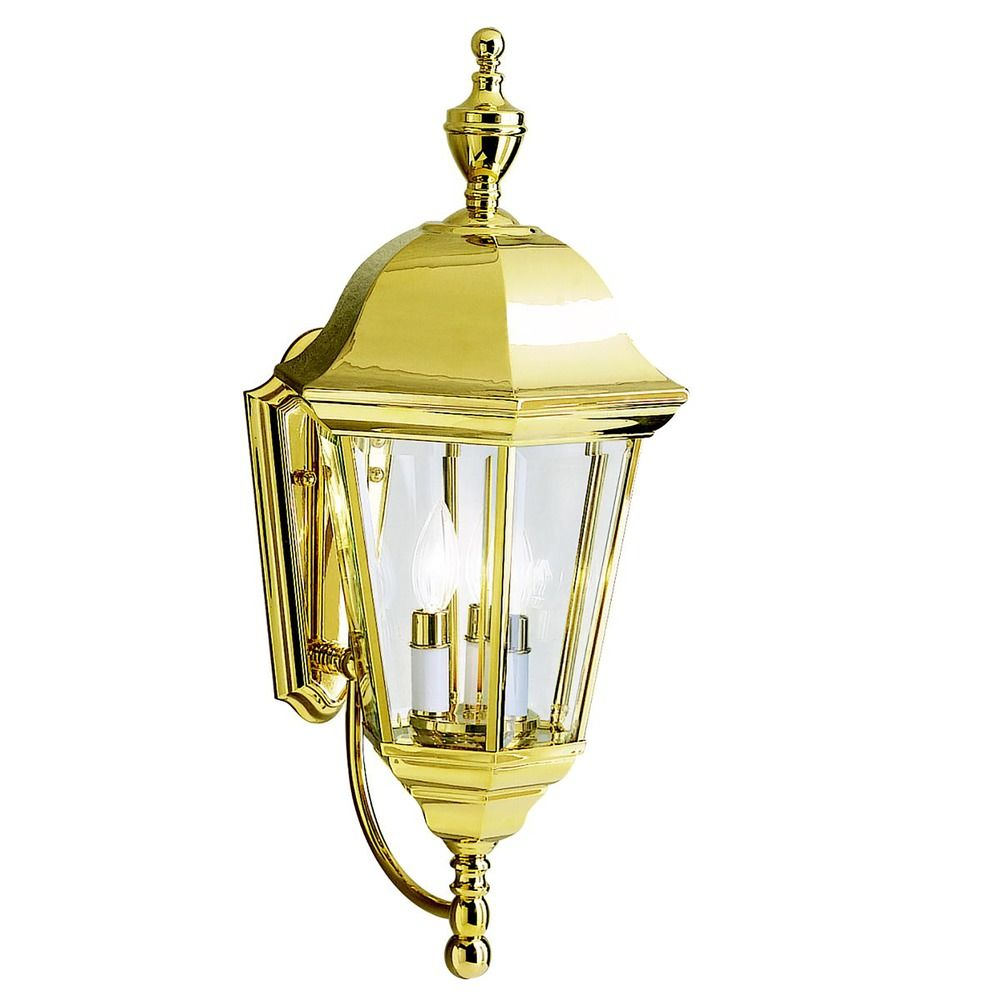 Kichler Outdoor Wall Light with Clear Glass in Polished Brass Finish 9489PB Destination Lighting