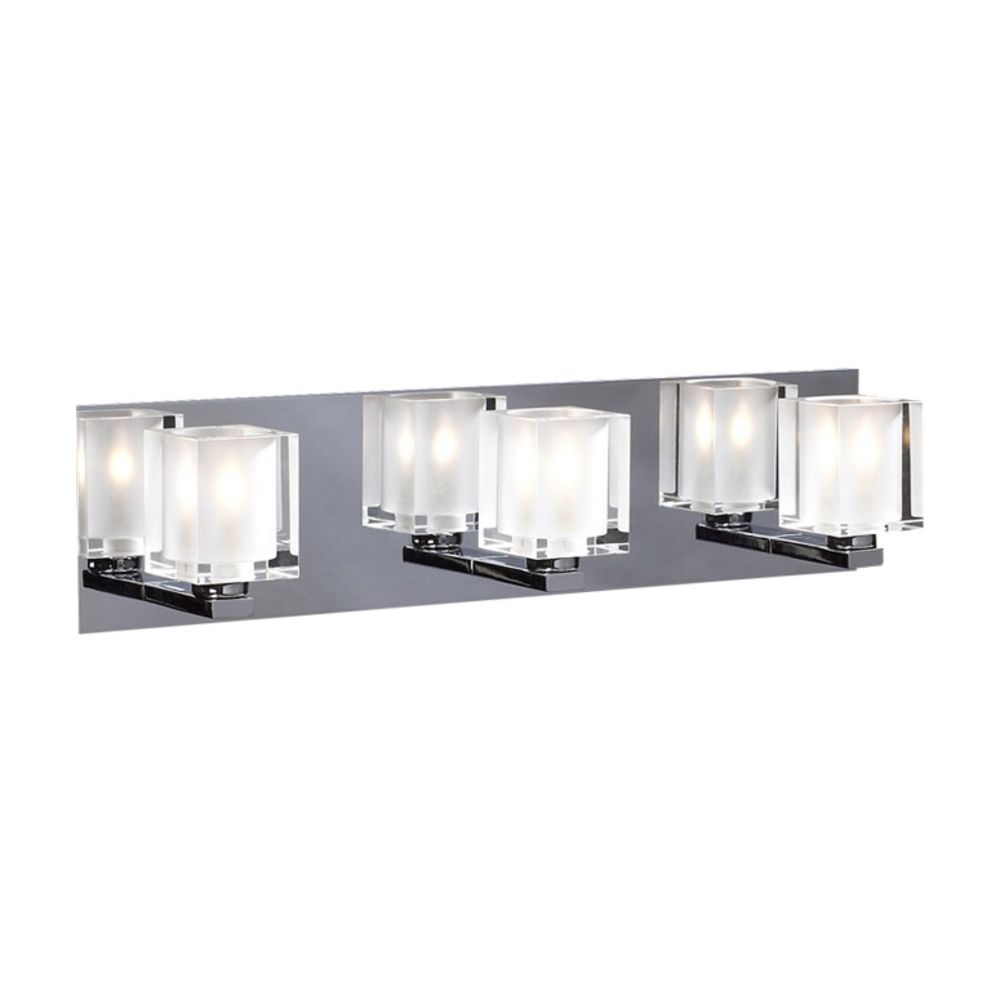 Modern Bathroom Light With Clear Glass In Polished Chrome Finish 3483 Pc Destination Lighting