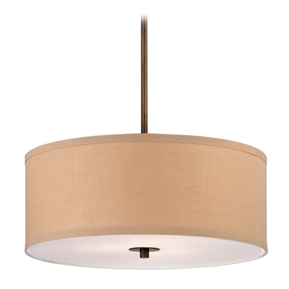 contemporary drum pendant light with gold linen shade ebay