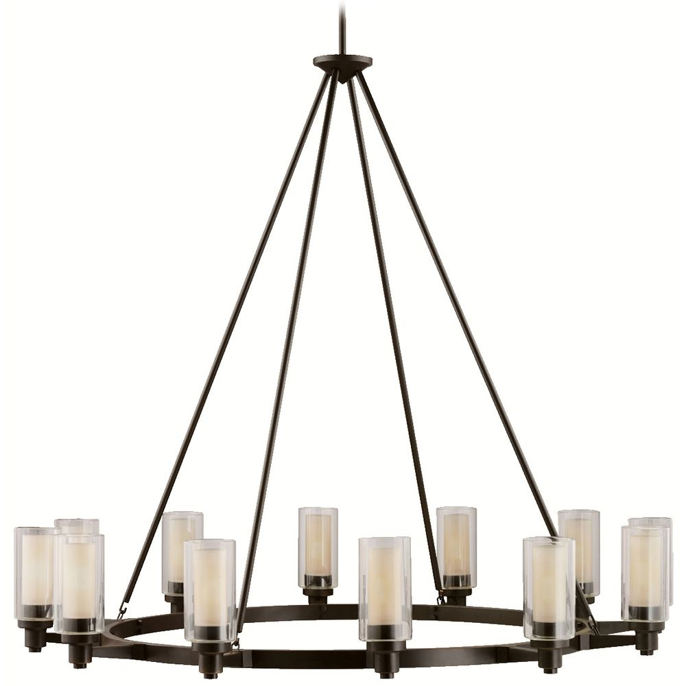 Kichler modern chandelier with clear glass in olde bronze finish hover or click to zoom mozeypictures Gallery