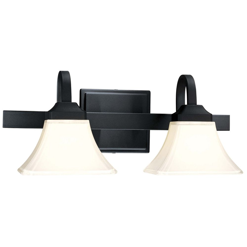 Minka Lavery Modern Bathroom Light With White Gl In Black Finish 6812 66