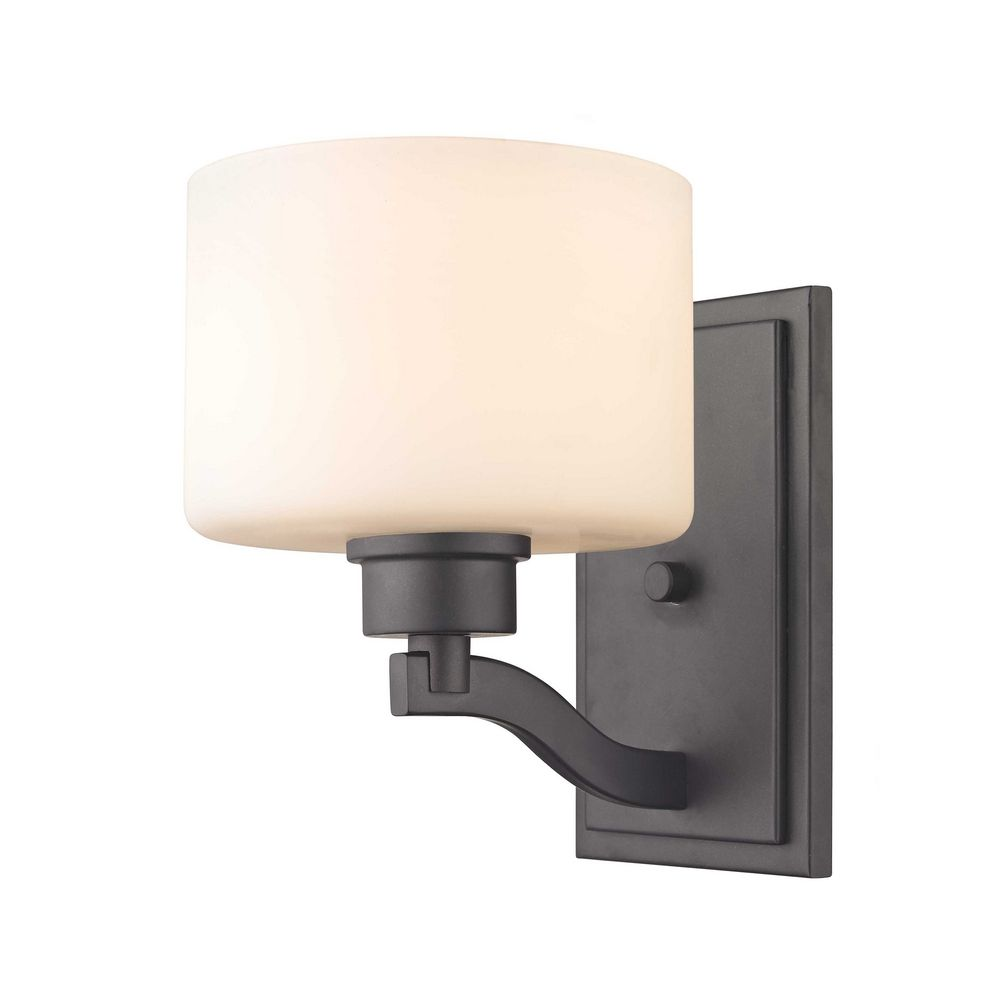 Bronze Wall Sconce With Shade : Bronze Wall Sconce Light with White Glass Drum Shade 1266-46 Destination Lighting