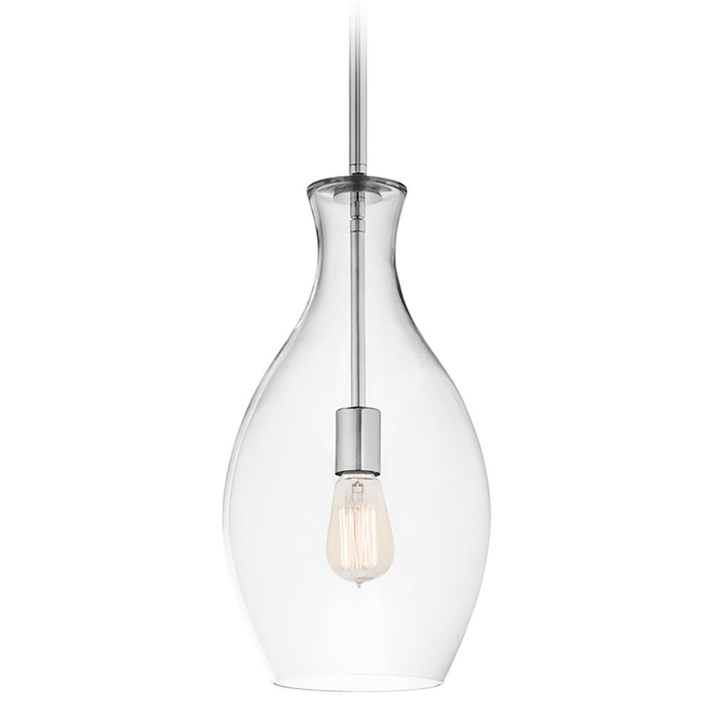 Kichler Lighting Clear Teardrop Glass Pendant Light In