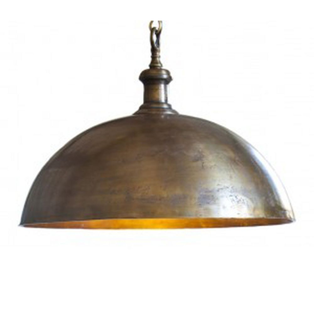 light and living industrial style dome pendant light in brass finish