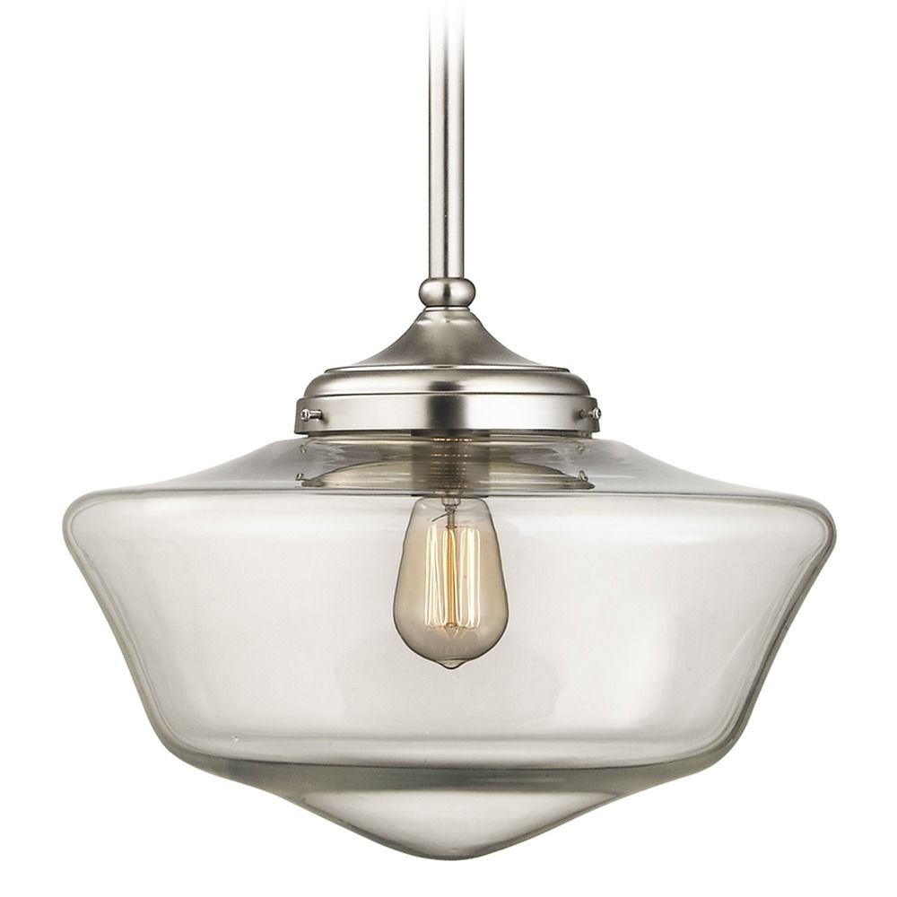16 Inch Satin Nickel Clear Gl Schoolhouse Pendant Light