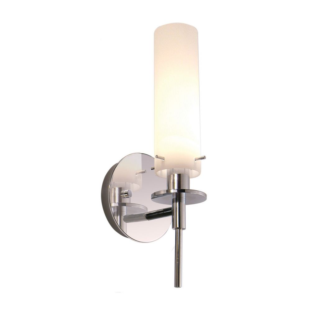 Wall Sconce Chrome Finish : Modern Sconce Wall Light with White Glass in Polished Chrome Finish 3031.01 Destination Lighting