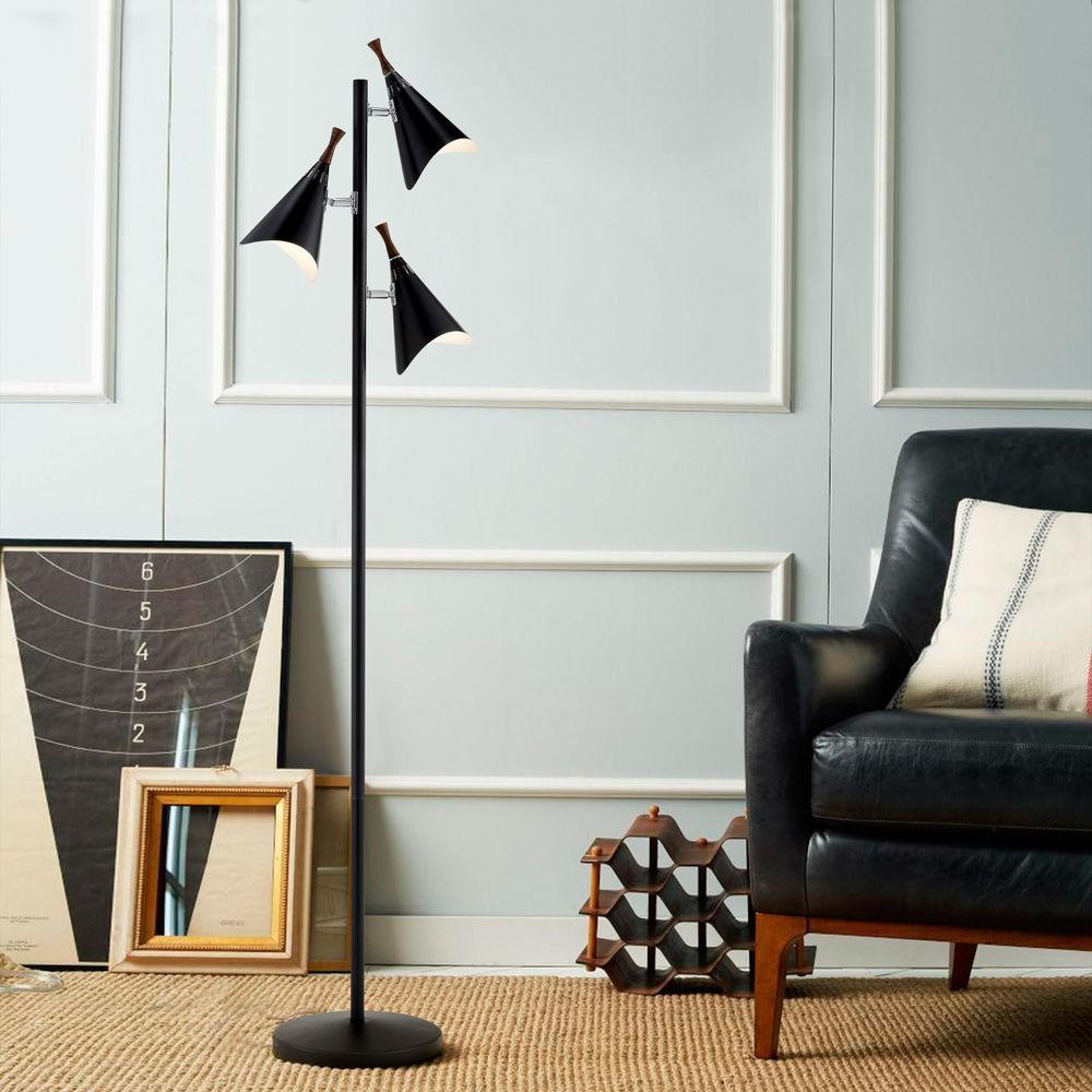 Mid Century Modern Floor Lamp Black Draper By Adesso Home Lighting At Destination Lighting