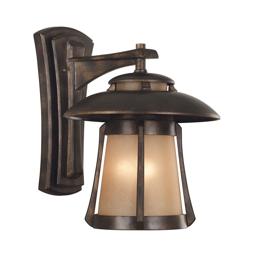 Bronze Finish Wall Lights : Outdoor Wall Light with Amber Glass in Golden Bronze Finish 03196 Destination Lighting