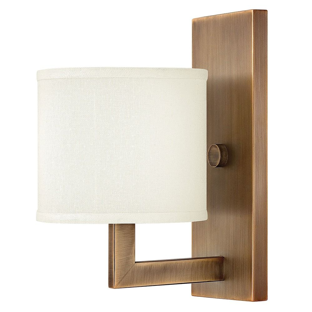 Wall Sconces Bronze Finish : Modern Sconce Wall Light with White Shade in Brushed Bronze Finish 3210BR Destination Lighting