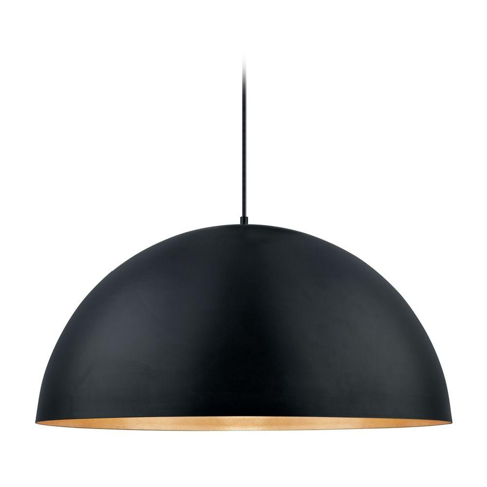 Eglo Gaetano Black Gold Led Pendant Light With Bowl