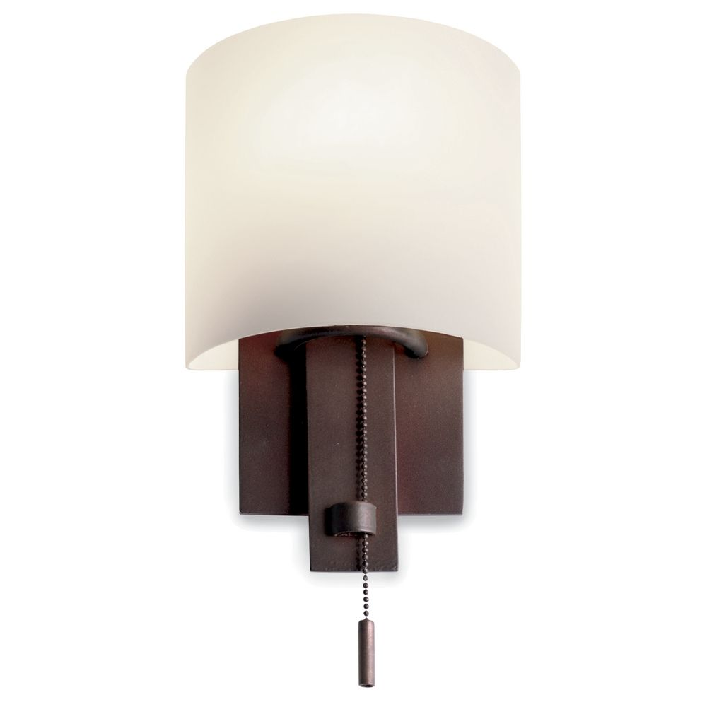 Bathroom Wall Sconces With Outlet bronze wall sconce with satin nickel pull-chain | 4650bz