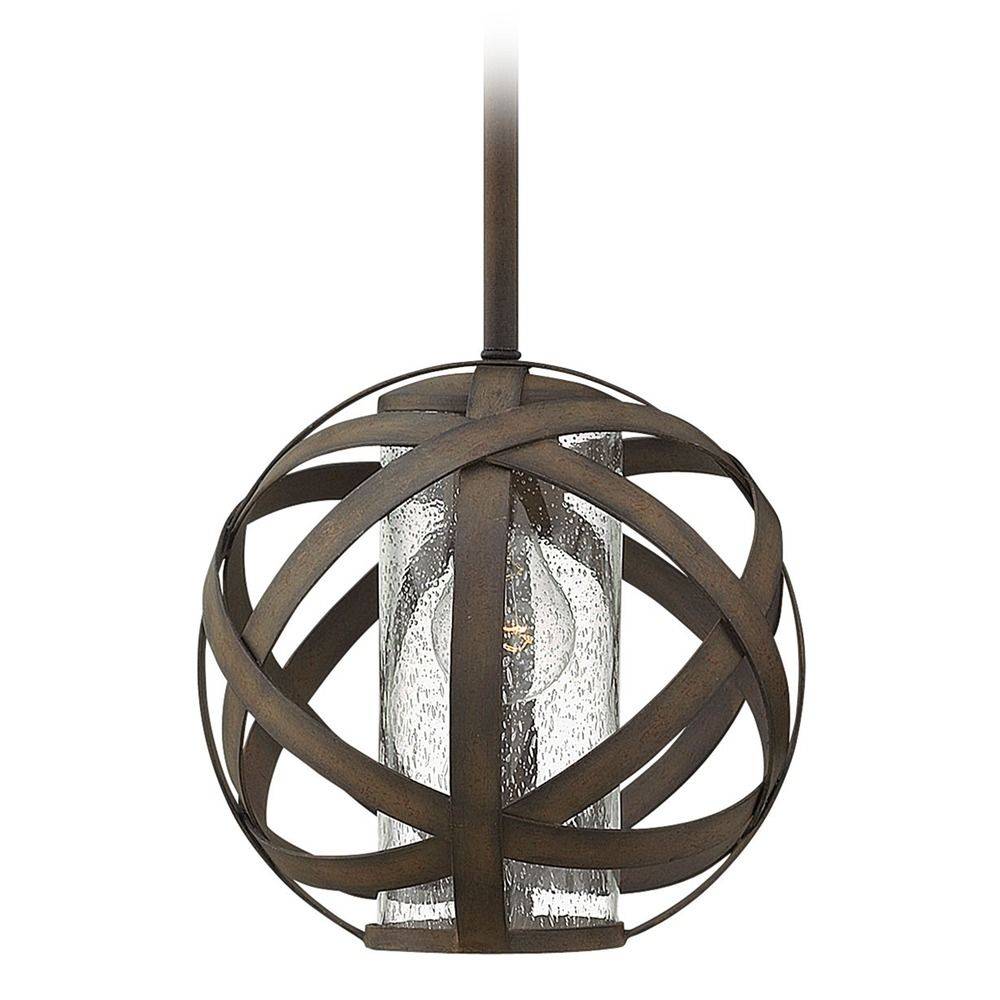 Industrial vintage seeded glass outdoor hanging light iron hinkley product image arubaitofo Images
