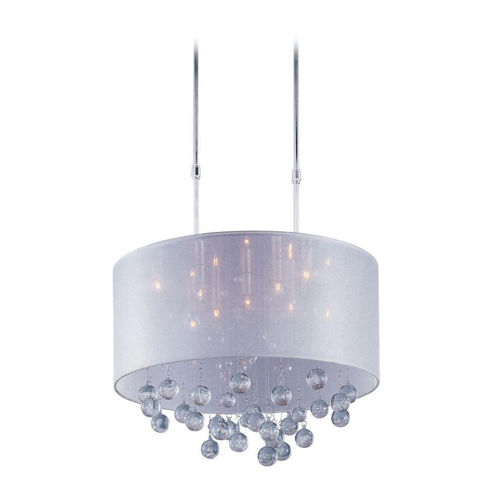modern drum pendant light with silver shade in polished chrome finish e22385 120pc