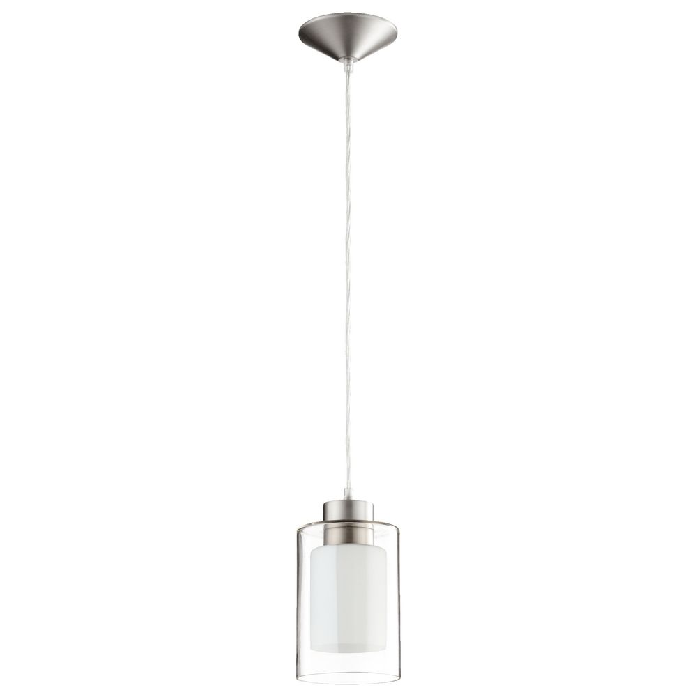 Quorum Lighting Satin Nickel Clear and White Mini-Pendant Light with Cylindrical Shade alt1.  sc 1 st  Destination Lighting & Quorum Lighting Satin Nickel Clear and White Mini-Pendant Light ... azcodes.com