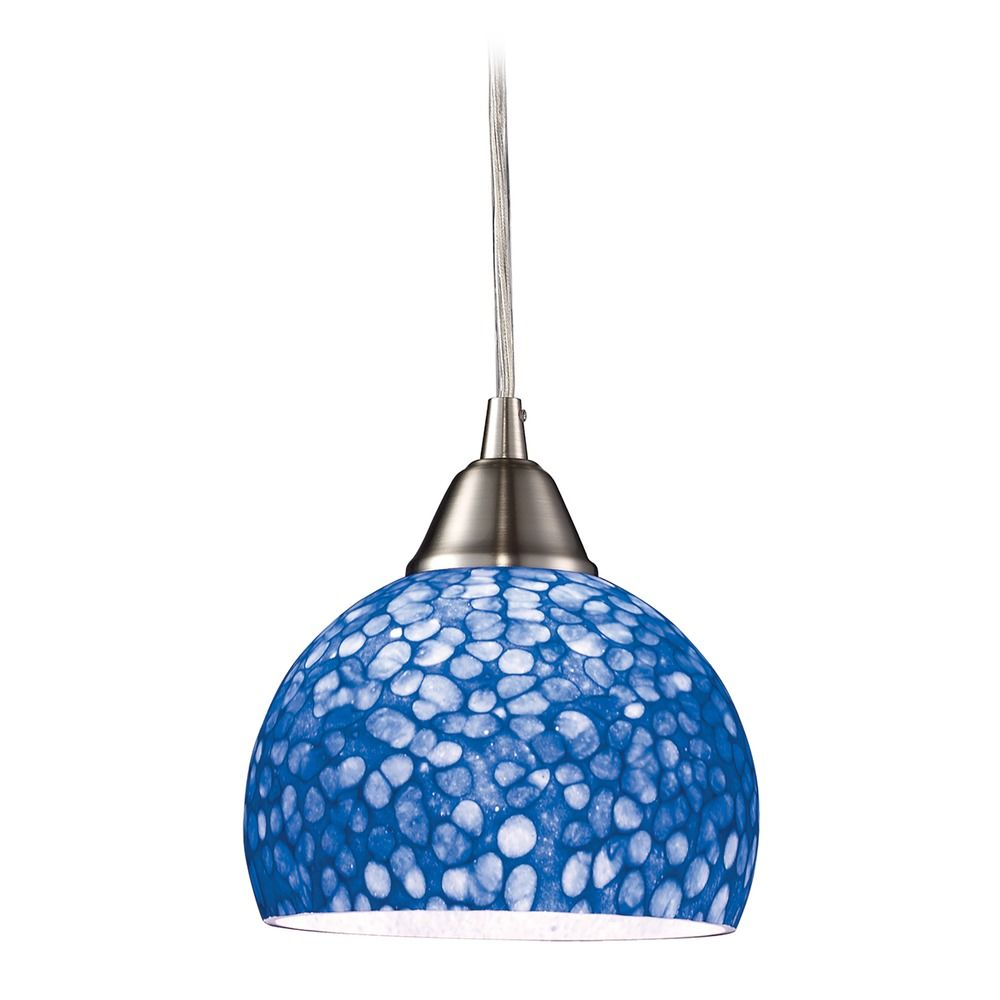 Modern Mini-Pendant Light With Blue Glass