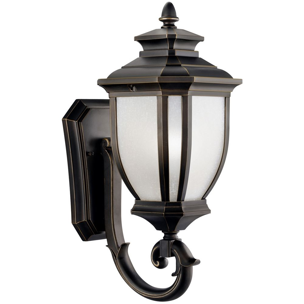 Kichler Outdoor Wall Light With White Glass In Rubbed