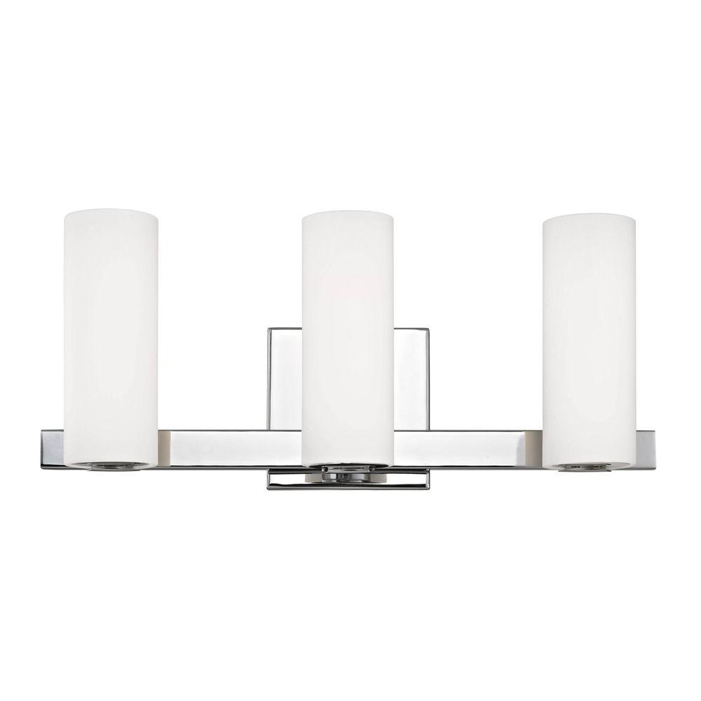 Modern led bath vanity light with 3 lights chrome finish for Modern chrome bathroom vanity lighting
