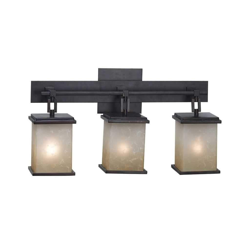 Modern Bathroom Light with Amber Glass in Oil Rubbed Bronze Finish ...