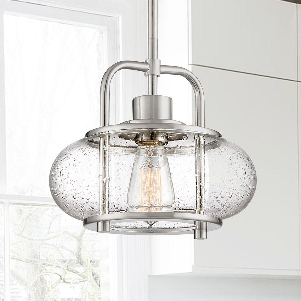 Edison Bulb Mini Pendant Light Brushed Nickel 10 Inch By Quoizel Lighting At Destination Lighting