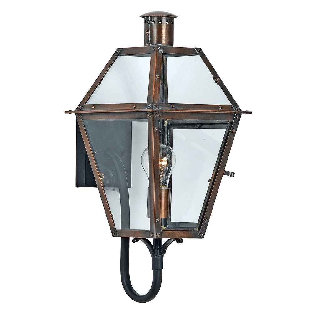 Quoizel Rue De Royal Aged Copper Outdoor Wall Light RO8410ACFL Destination Lighting