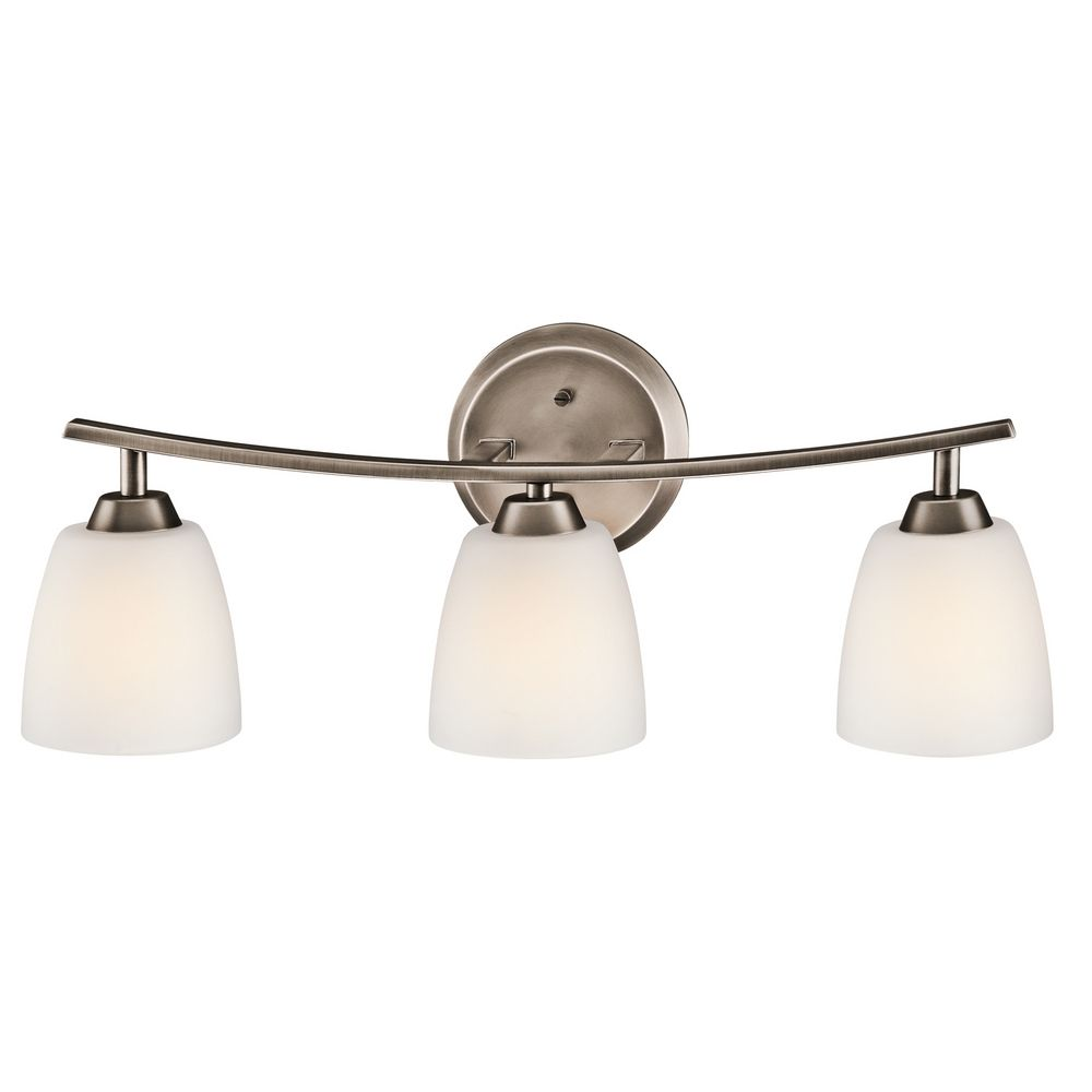 Kichler Bathroom Light With White Glass In Brushed Pewter Finish 45360BPT
