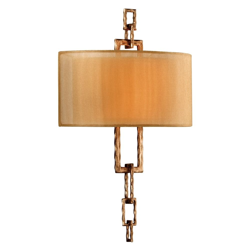 Bronze Finish Wall Lights : Sconce Wall Light with Beige / Cream Shades in Bronze Leaf Finish B2872 Destination Lighting