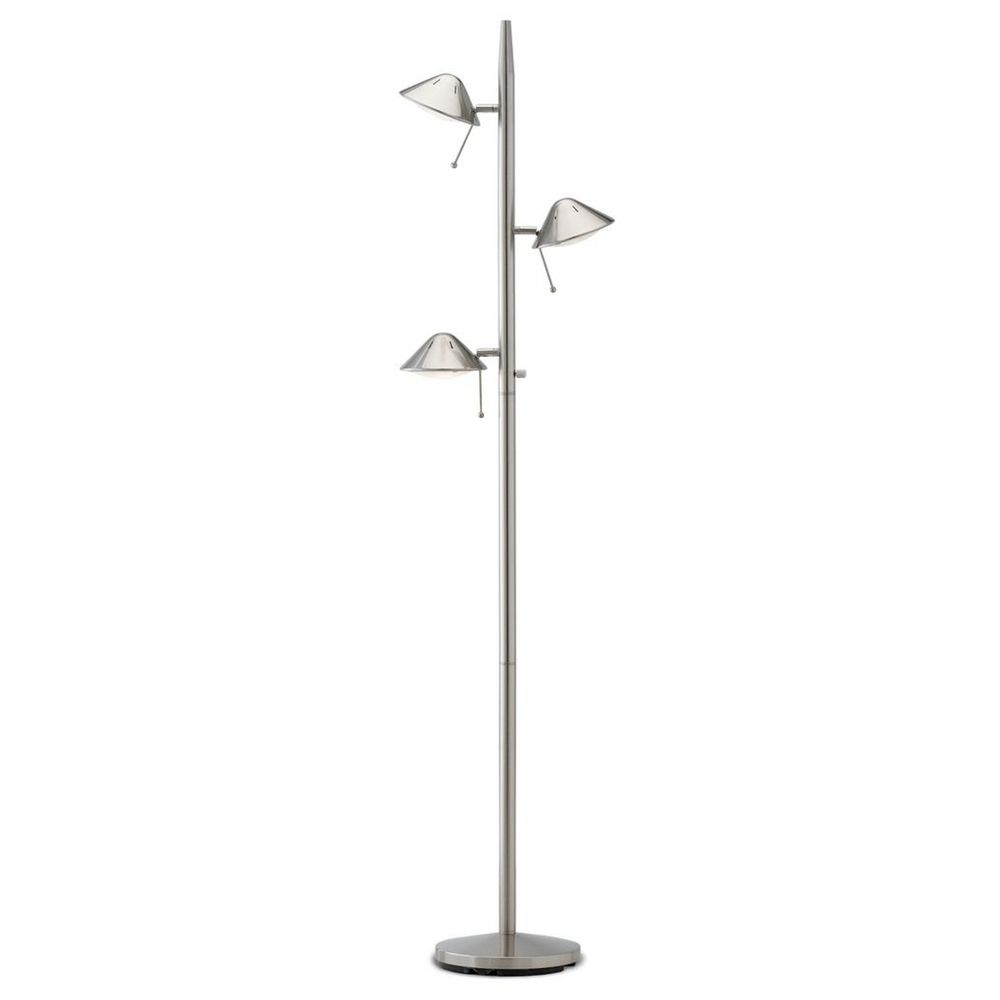Satin nickel adjustable led tree floor lamp ebay for Tree floor lamp uk