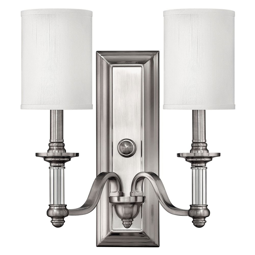 Sconce Wall Light With Beige Cream Shades In Brushed Nickel Finish 4792bn Destination Lighting