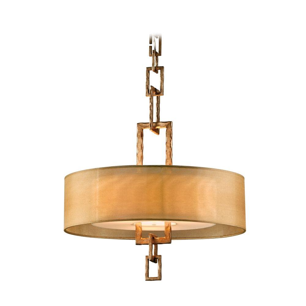 Drum Pendant Light With Beige / Cream Shade In Bronze Leaf
