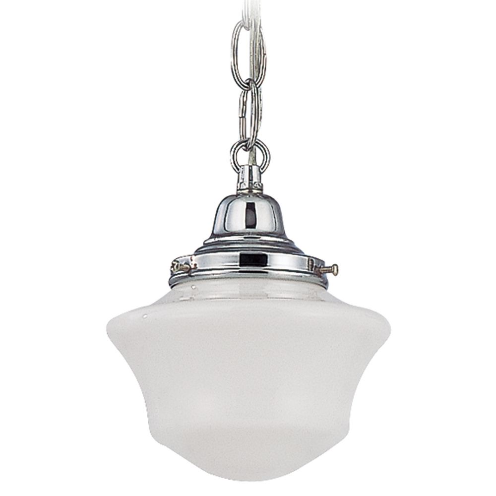 6 Inch Schoolhouse Mini Pendant Light With Chain In Chrome Finish At Destination Lighting