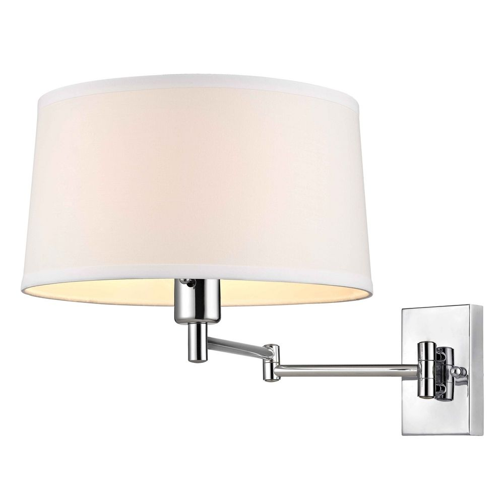 Lamp Shades For Wall Swing Arm : Chrome Swing-Arm Wall Lamp with White Drum Shade 2293-26 Destination Lighting