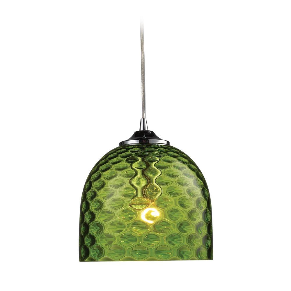 Mini-Pendant Light With Green Glass