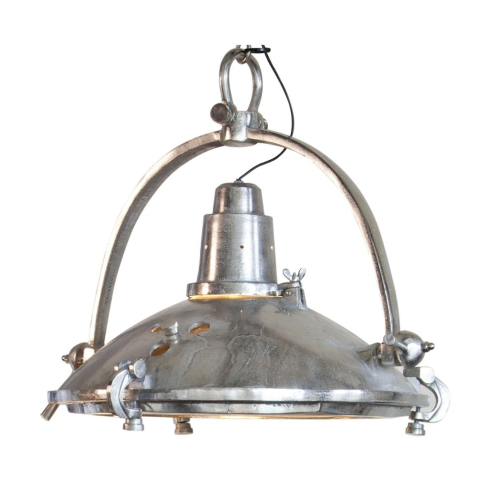 Large Retro Pendant Light In Raw Nickel Finish 3033857 Destination Lighting