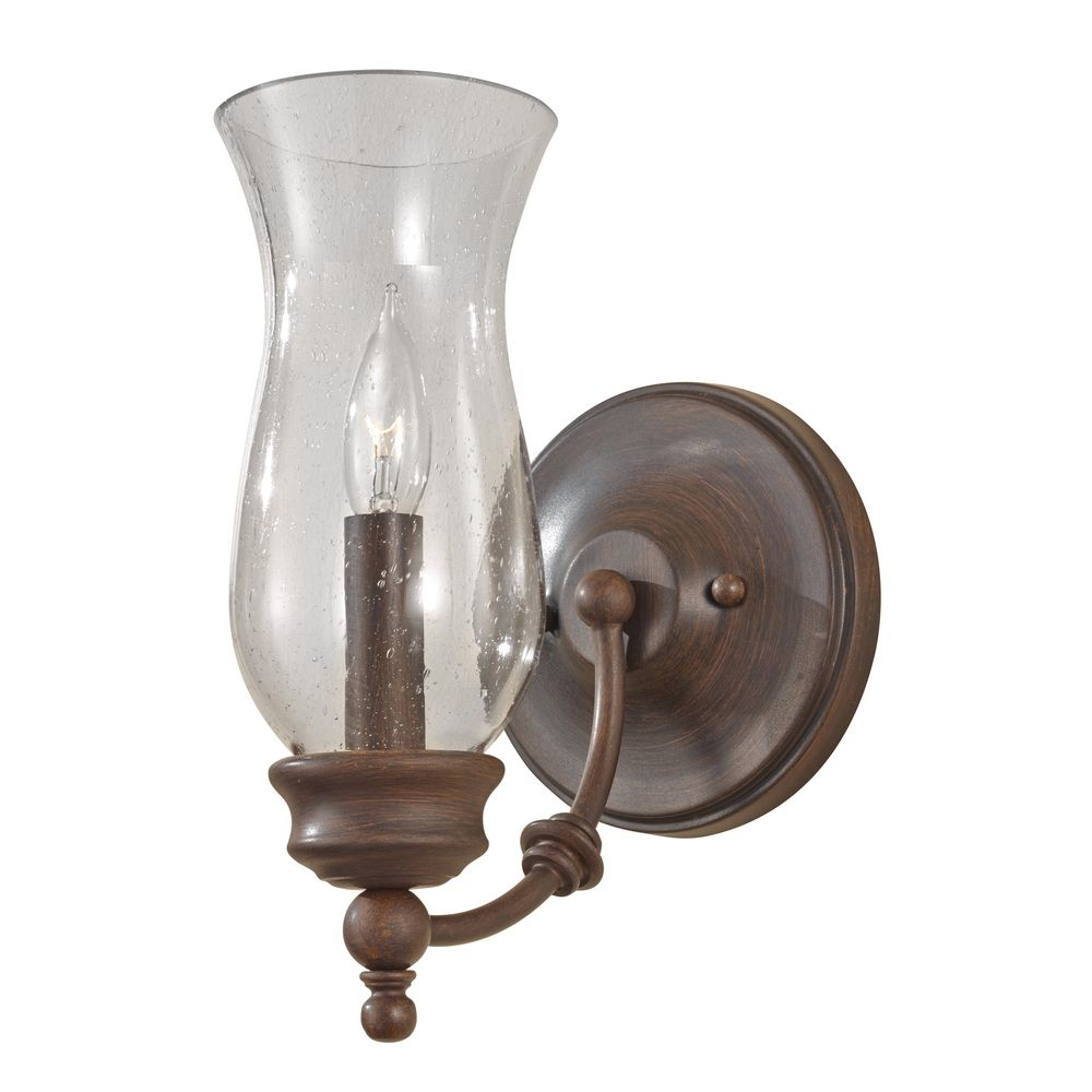 Wall Sconces Bronze Finish : Sconce Wall Light with Clear Glass in Heritage Bronze Finish WB1597HTBZ Destination Lighting