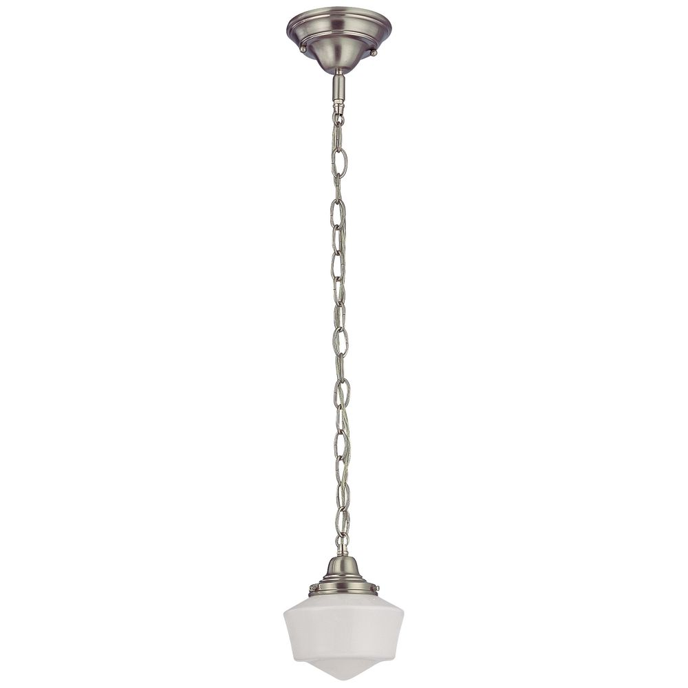6 Inch Schoolhouse Mini Pendant Light With Chain In Satin Nickel Alt1