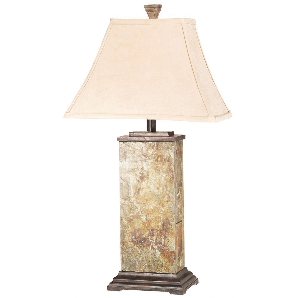 Table Lamp With Beige Cream Shade In Natural Slate
