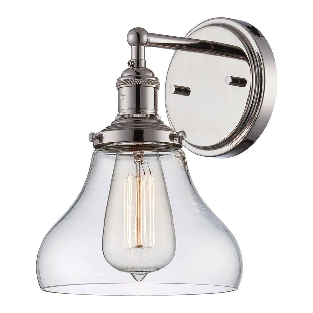 Sconce Wall Light With Clear Glass In Polished Nickel