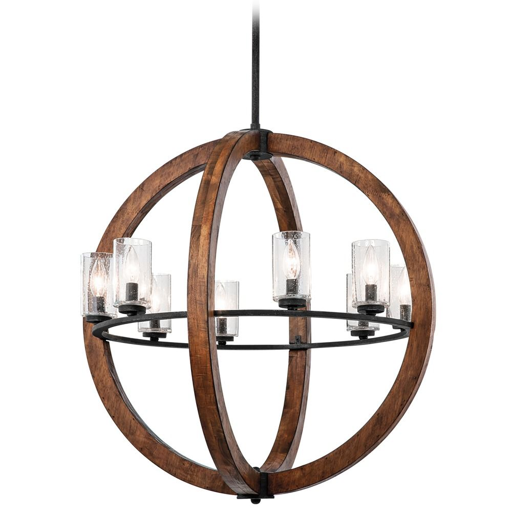 Kichler chandelier with clear glass in auburn stained finish product image mozeypictures Image collections