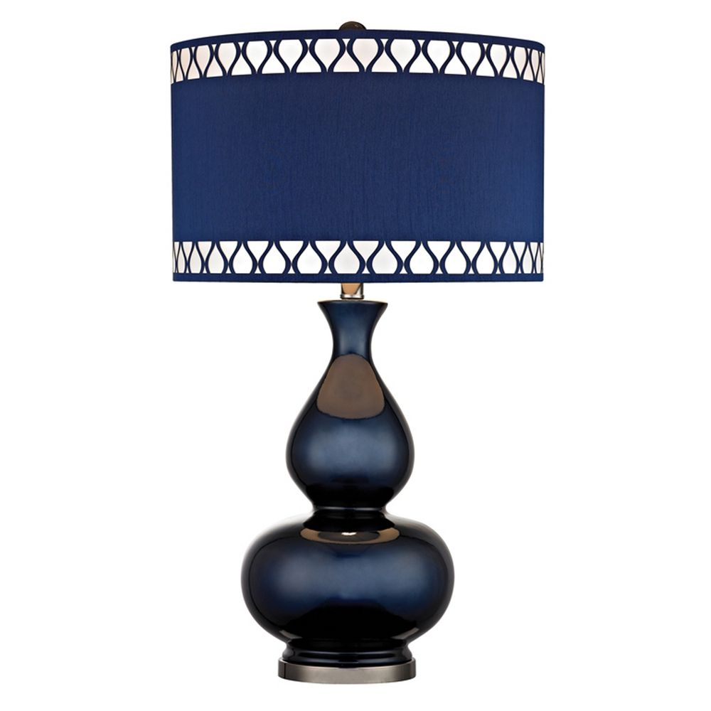 Navy Blue Table Lamps: Dimond Lighting Table Lamp with Blue Shades in Navy Blue with Black Nickel  Finish D2516,Lighting