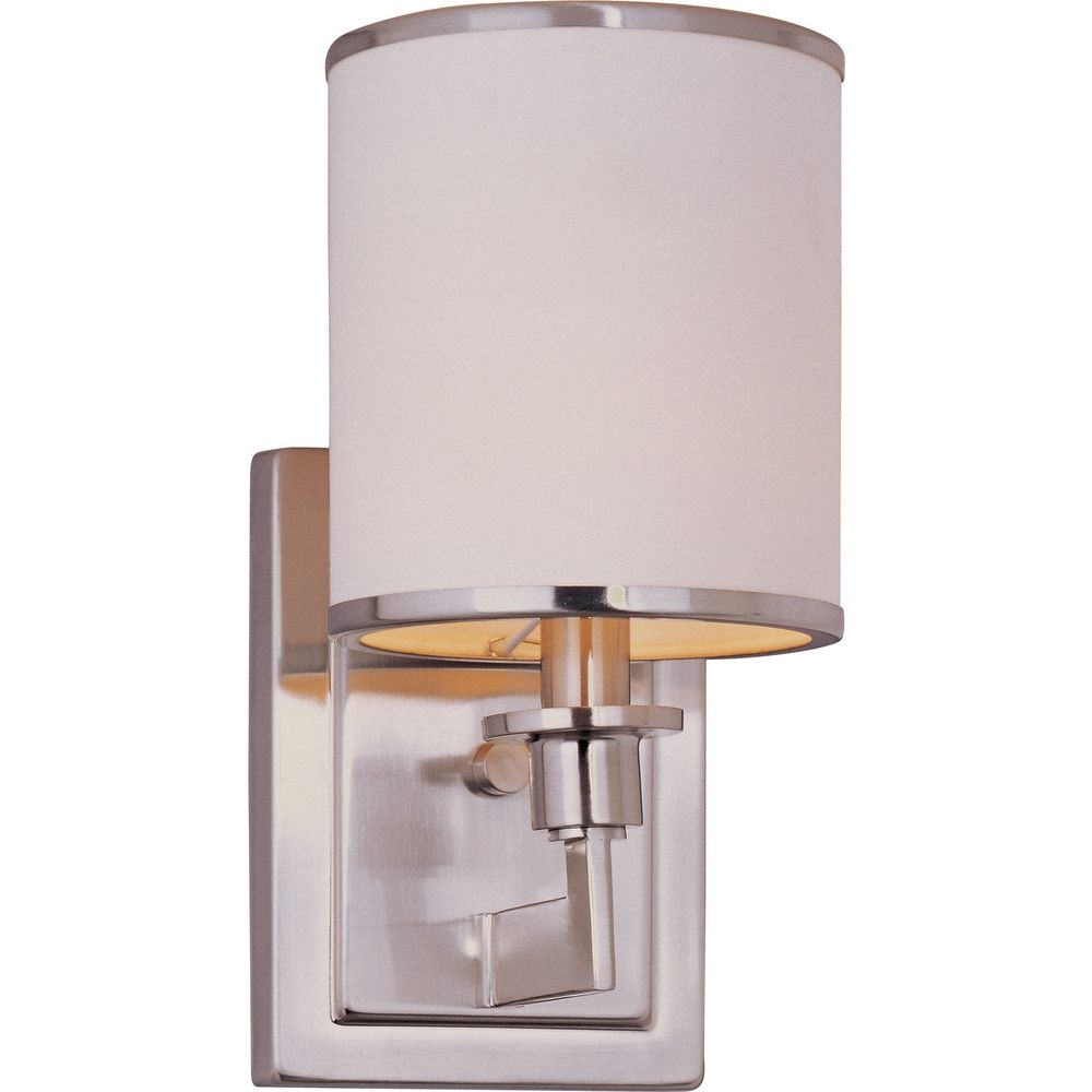 Satin Nickel Wall Sconce with White Shade 12059WTSN Destination Lighting
