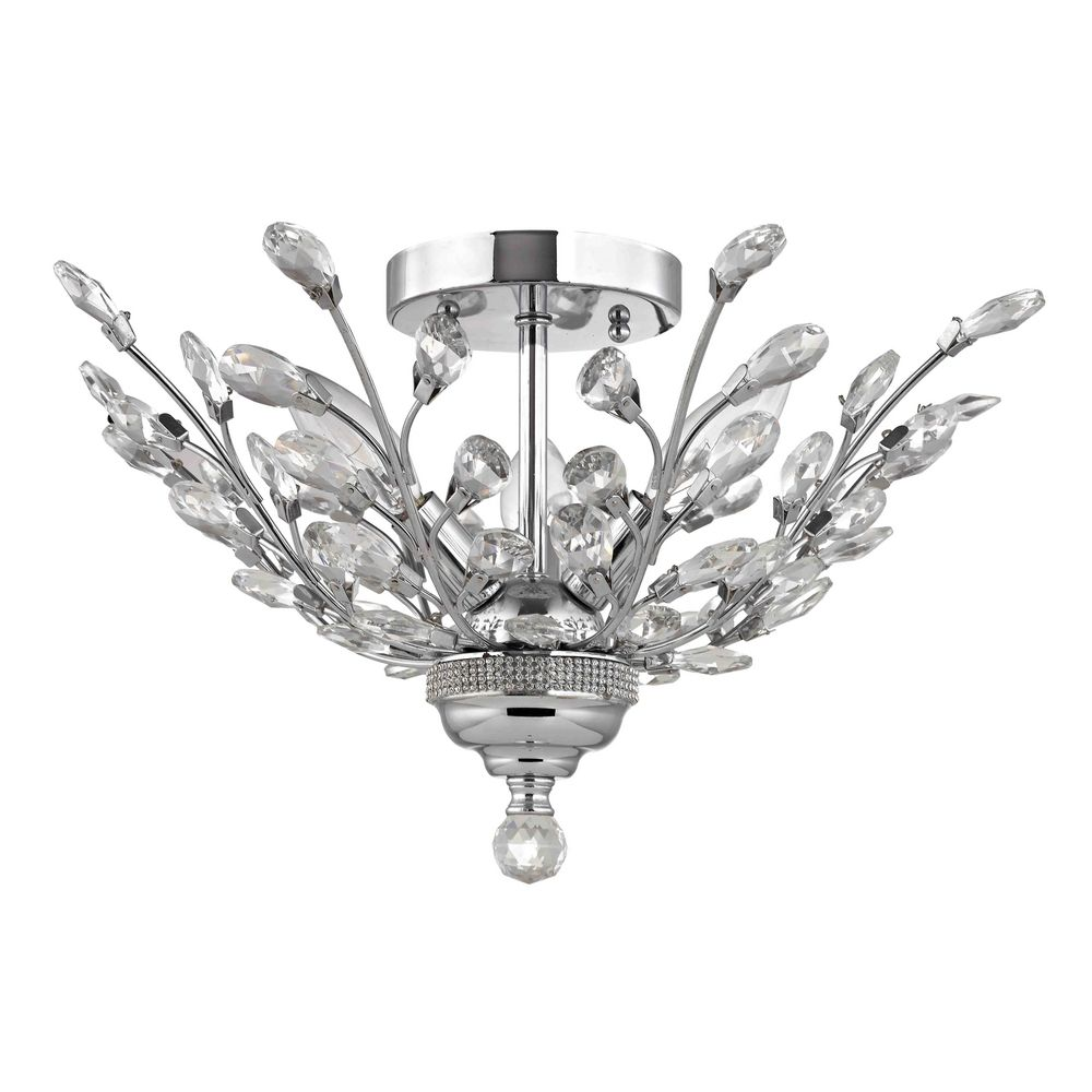 Crystal semi flushmount light in chrome finish at destination lighting