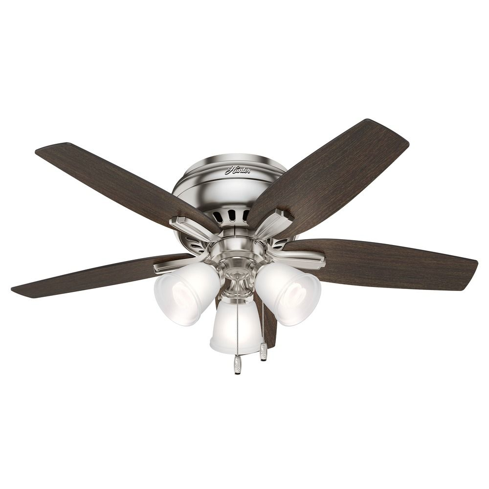 Hunter 42 Inch Brushed Nickel Ceiling Fan With Light At Destination Lighting