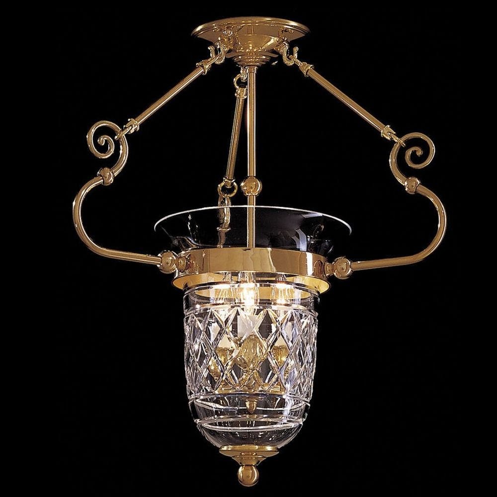 Pendant Light With Clear Glass In Polished Brass Finish