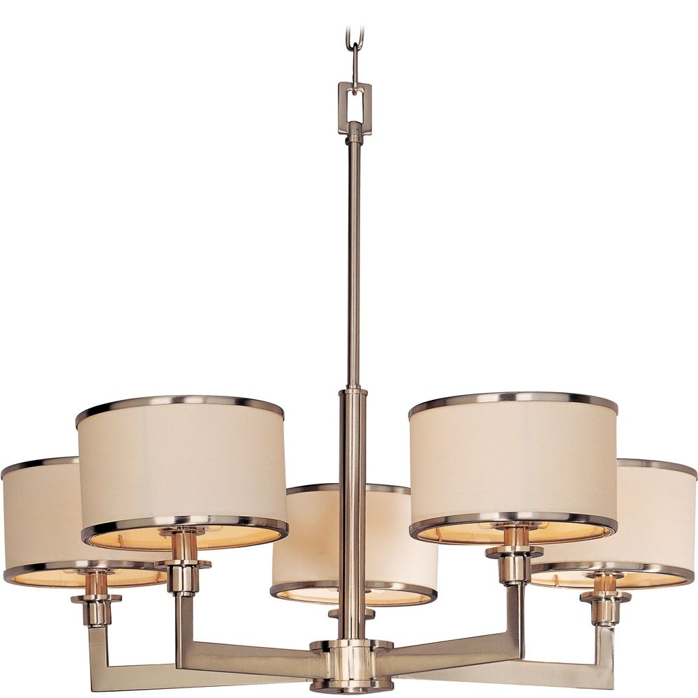 Satin Nickel Chandelier With Drum Lamp Shades