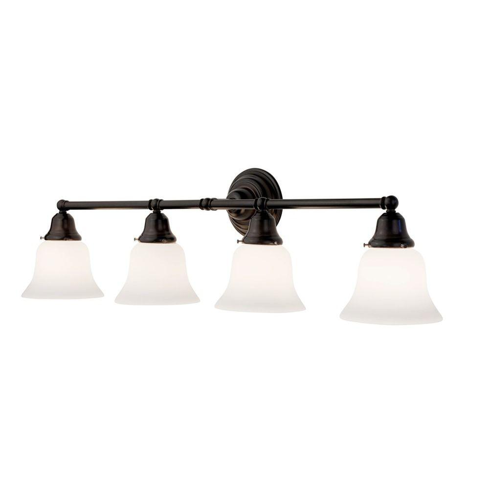 Vanity Light Cover Kit : Four-Light Bathroom Vanity Light with Bell Shades 674-30/G9110 KIT Destination Lighting