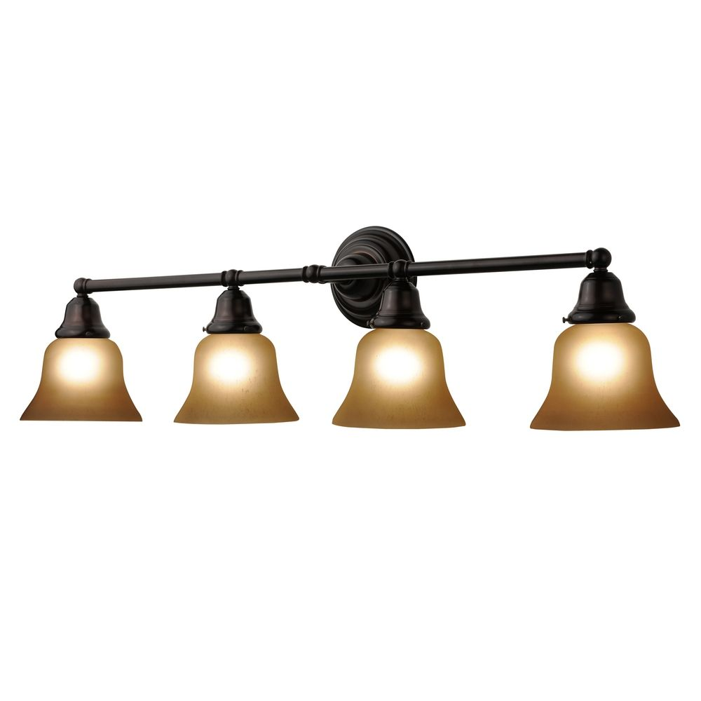 Vanity Light No Shades : Four-Light Bathroom Vanity Light with Amber Bell Shades 674-30/G9999 KIT Destination Lighting